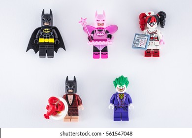 Moscow, Russia - JANUARY 21, 2017: THE LEGO BATMAN MOVIE minifigures set on white paper isolated background.