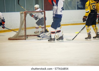 """Moscow, Russia - January, 21, 2017: Amateur hockey league LHL-77. Game between hockey team """"New Jersey 53"""" and hockey team """"Eagles""""."""