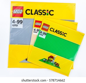 Moscow, Russia - JANUARY 21, 2017: Lego Classic baseplates in original pack. Lego is a popular toy manufactured by the Lego Group.