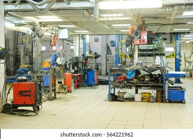 Moscow, Russia - January, 23, 2017: interior of a car repair station in Moscow, Russia