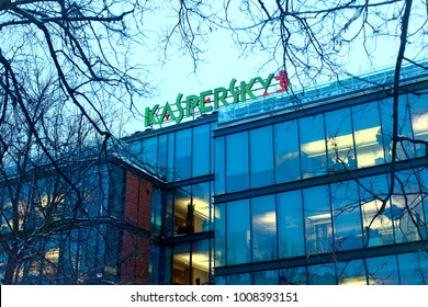 Moscow, Russia - January 23, 2018: The sign Kaspersky Lab on the building of the Central office  in Moscow. Headquarter of Kaspersky lab, one of the worlds fastest-growing cybersecurity companies