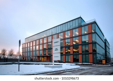 Moscow, Russia - January 23, 2018: Building of the Central office of Kaspersky Lab in Moscow. Winter evening.