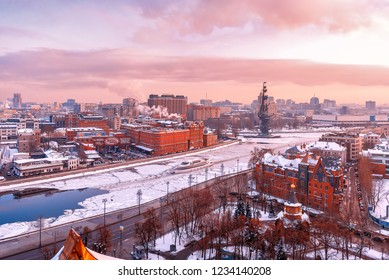 """Moscow, Russia - January 23, 2018: View from the observation deck of the Cathedral of Christ the Savior. The ship of the Radisson flotilla. monument to Peter and the plant """"Red October"""". Winter."""