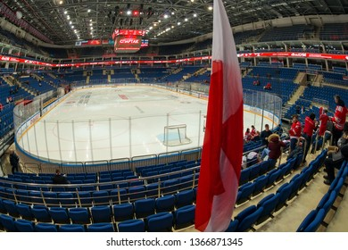 MOSCOW, RUSSIA - JANUARY 23, 2019: Hockey arena and the spectator seats.  Interior of Legends Park Arena before the hockey game Spartak vs Severstal (Cherepovets) on Russia KHL championship.