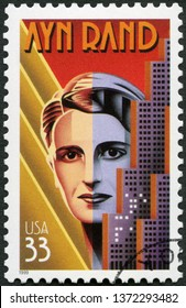 MOSCOW, RUSSIA - JANUARY 24, 2019: A stamp printed in USA shows Ayn Rand (1905-1982), writer Alisa Zinovyevna Rosenbaum, Literary Arts Series, 1999