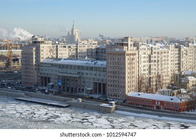 "Moscow, Russia - January 25, 2018: Winter view of Bersenevskaya embankment and Moscow State Variety Theatre (""House on the embankment"") from the observation platform of Cathedral of Christ the Savior"