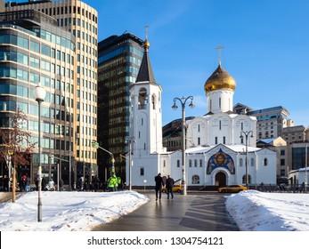MOSCOW, RUSSIA - JANUARY 25, 2019: people near Church of St Nicholas the Wonderworker at Tverskaya Outpost (Church of Saint Nicholas in the Tver Old Believers Community at Tverskaya Zastava)
