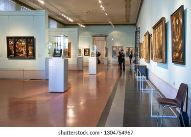 MOSCOW, RUSSIA - JANUARY 25, 2019: visitors in hall of Germany and Dutch art in main exhibition in Pushkin State Museum of Fine Arts. Pushkin Museum is the largest museum of European art in Moscow