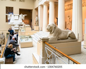 MOSCOW, RUSSIA - JANUARY 25, 2019: people in Ancient Greek Courtyard of Pushkin State Museum of Fine Arts at Vohonka street. Pushkin Museum is the largest museum of European art in Moscow