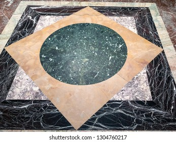 MOSCOW, RUSSIA - JANUARY 25, 2019: decor of marble floor in hall of Pushkin State Museum of Fine Arts at Vohonka street. Pushkin Museum is the largest museum of European art in Moscow