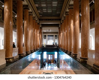 MOSCOW, RUSSIA - JANUARY 25, 2019: visitors in entrance hall of Pushkin State Museum of Fine Arts at Vohonka street. Pushkin Museum is the largest museum of European art in Moscow