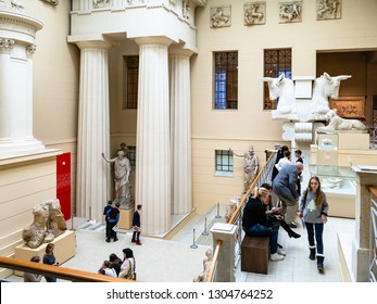 MOSCOW, RUSSIA - JANUARY 25, 2019: visitors in Ancient Greek Courtyard of Pushkin State Museum of Fine Arts at Vohonka street. Pushkin Museum is the largest museum of European art in Moscow