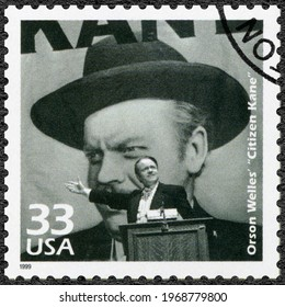 MOSCOW, RUSSIA - JANUARY 26, 2021: A stamp printed in USA shows George Orson Welles (1915-1985), Citizen Kane, series Celebrate the Century, 1940s, 1999