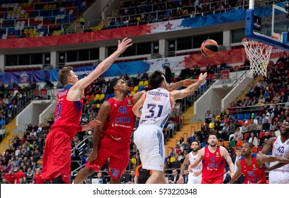 MOSCOW, RUSSIA - JANUARY 27, 2017: J. Granger (15) vs K. Hines (42) on basketball game CSKA vs Anadolu Efes on Regular championship of Euroleague on January 27, 2017, in Moscow, Russia. CSKA won 80:77