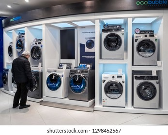 Moscow, Russia - January 27. 2019. Washing machines in Samsung brand store