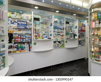 Moscow, Russia - January 27. 2019. interior of Samson Pharma pharmacy with empty cash registers