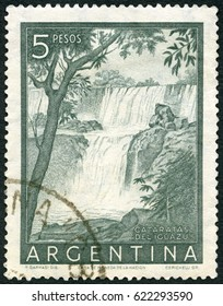 MOSCOW, RUSSIA - JANUARY 28, 2017: A stamp printed in Argentina shows Iguacu Falls, Cataratas Deliguazu, 1954