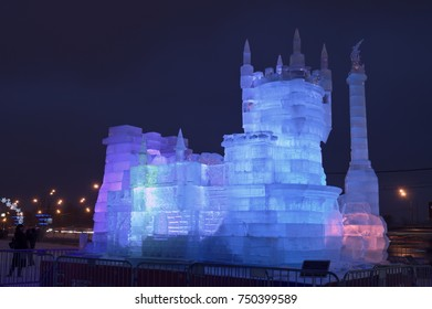 MOSCOW, RUSSIA - JANUARY 28, 2017: Ice building Swallow's Nest -  symbol of Crimea's southern coastline - Ice sculptures exhibitions in the Victory Park - Christmas and New Year decoration.