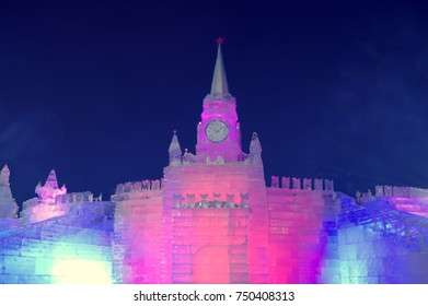 MOSCOW, RUSSIA - JANUARY 28, 2017: Ice building Spasskaya Tower - symbol of Moscow Kremlin - Ice sculptures exhibitions on the Poklonnaya Hill, Victory Park - Christmas and New Year decoration.