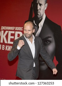 "MOSCOW, RUSSIA - JANUARY 28:  Actor Jason Statham poses for photographers at a cinema during a photo call for the film ""Parker"", on January 28, 2013 in Moscow."