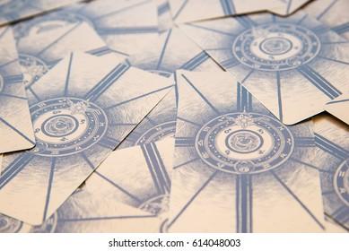 Moscow, Russia - January 29, 2017: Tarot cards. Labirinth tarot deck. Esoteric background