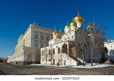 Moscow, Russia - January 30, 2017: View on the Annunciation Cathedral of the Moscow Kremlin and the Great Kremlin Palace