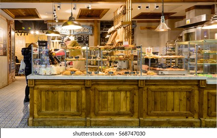 MOSCOW, RUSSIA   JANUARY 31, 2017: Modern Cafe And Grand Bakery Shop  Interior