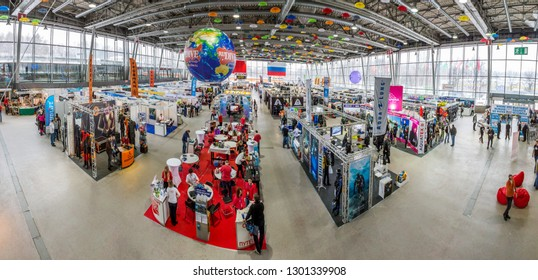 Moscow, Russia - January 31, 2019: Dive Show 2019, the main exhibition of aquatic man, editorial.