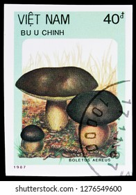 MOSCOW, RUSSIA - JANUARY 4, 2019: A stamp printed in Vietnam shows Bronze boletus (Boletus aereus), Mushrooms serie, circa 1987