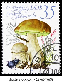 MOSCOW, RUSSIA - JANUARY 4, 2019: A stamp printed in Germany, Democratic Republic shows Cep (Boletus edulis), European Mushrooms serie, circa 1980
