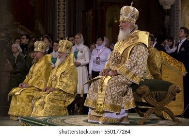 MOSCOW, RUSSIA, JANUARY 7, 2017. Patriarch Kirill of Moscow and All Russia attend a Christmas service at the Cathedral of Christ the Savior, Moscow, Russia at January 7, 2017.