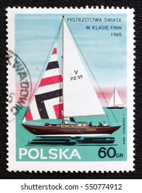 MOSCOW, RUSSIA - JANUARY 7, 2017: A Stamp printed in Poland shows Competition in the Yachting World Sport series, circa 1965