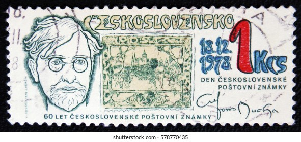 MOSCOW, RUSSIA - JANUARY 7, 2017: stamp printed by Czechoslovakia, shows Alfons Mucha, circa 1978