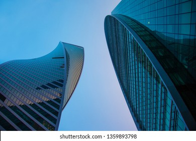MOSCOW, RUSSIA - JANUARY, 7 2019: Business center conceptual blue photo with lights Moscow City skyscrapers architecture complex night view