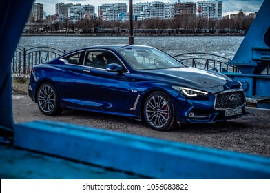 MOSCOW, RUSSIA   JANUARY 8, 2018 INFINITI Q60 Coupe Car, Front Side