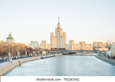 MOSCOW, RUSSIA - January 9, 2018: View on the Moskvoretskaya embankment and high-rise building on the Kotelnicheskaya embankment and Moskva-river. Winter cityscape