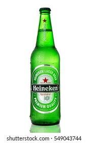 Moscow, Russia - Janyar 05, 2017: Bottle of Heineken Lager Beer on white background.