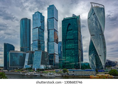 MOSCOW, RUSSIA - Jul 23, 2018: View of the skyscrapers of Moscow International Business Center, also known as Moscow City, on Moscow River coast beyond residential properties and apartment blocks.