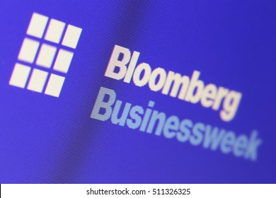 "MOSCOW, RUSSIA - JUL 24, 2016: The inscription ""Bloomberg Businessweek"" on the computer screen"