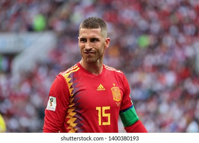 Moscow, Russia, Jule, 1, 2018. Luzhniki stadium. Sergio Ramos in the football match of FIFA World Cup 2018 between Spain & Russia.
