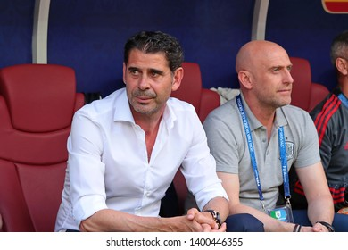 Moscow, Russia, Jule, 1, 2018. Luzhniki stadium. Head coach of team Spain Fernando Hierro in the football match of FIFA World Cup 2018 between Spain & Russia.
