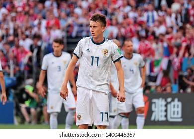 Moscow, Russia, Jule, 1, 2018. Luzhniki stadium. Aleksandr Golovin in the football match of FIFA World Cup 2018 between Spain & Russia.
