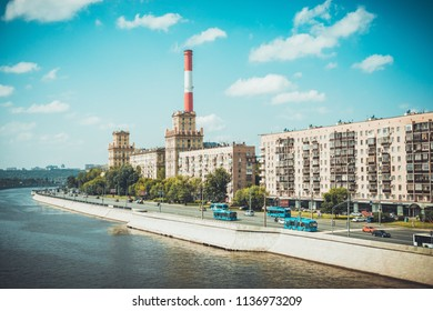 MOSCOW, RUSSIA - JULI 18, 2018: Moscow river and Berezhkovskaya embankment. Panoramic view from the pedestrian bridge of Bogdan Khmelnitsky in Moscow. Visible at Moscow State University.