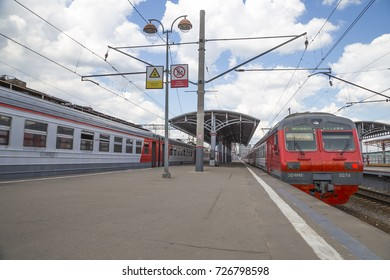 MOSCOW, RUSSIA - JULY, 02 2015: Train on Moscow passenger platform (Savelovsky railway station)-- is one of the nine main railway stations in Moscow, Russia