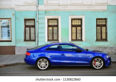 MOSCOW, RUSSIA - JULY 02: Deep blue Audi A5 Sportback car parked in the street, Moscow on July 2, 2018.