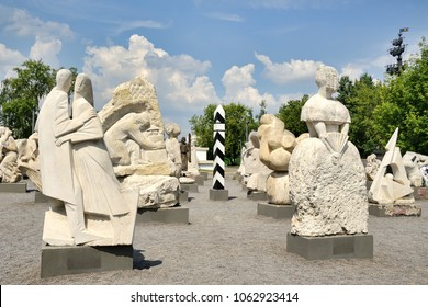 """MOSCOW, RUSSIA - July 03, 2016 Modern sculptures behind the House of Artists at Krymsky Val on the grounds the Moscow park of arts """"Muzeon"""" that sometimes known in English, the Fallen Monuments Park."""