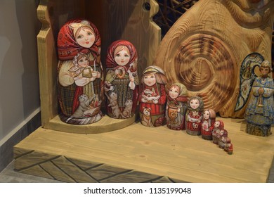 MOSCOW, RUSSIA - JULY 03 - Set of ten colorful matryoshka dolls in a souvenir shop on july 03, 2018 in Moscow. Matryoshka is a set of wooden dolls of decreasing size placed one inside another