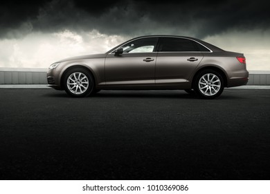 Moscow, Russia - July 04, 2017: Car Audi A4 B9 wrapped in matte vinyl is standing on the parking