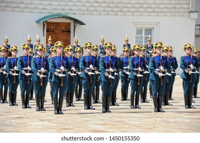 MOSCOW, RUSSIA - July 06, 2019 Infantry performs Attention command with SKS rifles on Cathedral Square during ceremonial changing of foot and cavalry guards of Presidential Regiment in Moscow Kremlin