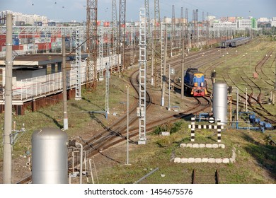 Moscow, Russia, July 08, 2019: switcher or shunter TEM18D-127 moves along the railway tracks in Khovrino at mosselmash station